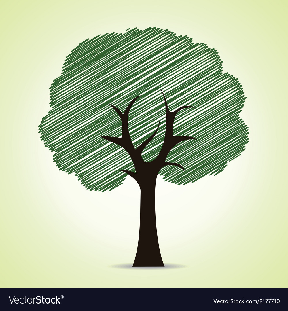 Hand drawn tree background vector | Price: 1 Credit (USD $1)