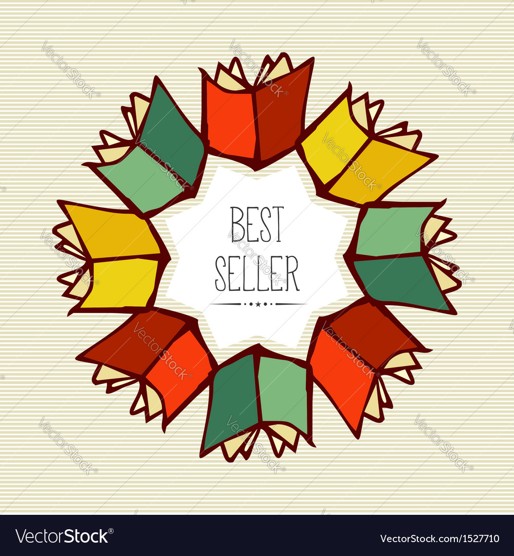 Retro best seller book flower vector | Price: 1 Credit (USD $1)