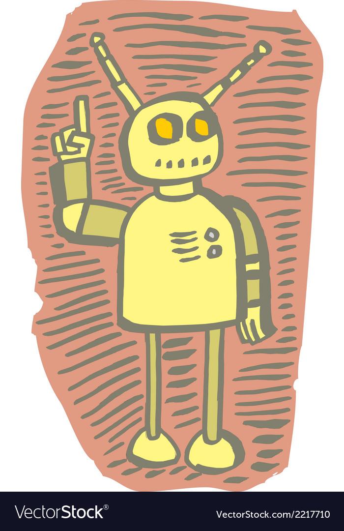 Robot gesturing alert vector | Price: 1 Credit (USD $1)