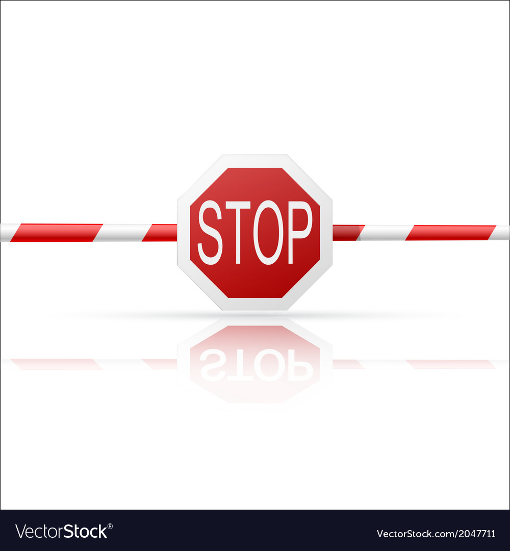Barrier with a stop on a white background vector | Price: 1 Credit (USD $1)
