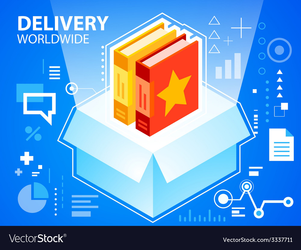 Bright delivery box and books on blue backgr vector | Price: 3 Credit (USD $3)