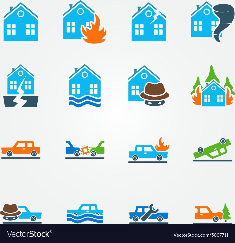 Bright flat insurance icons set vector | Price: 1 Credit (USD $1)
