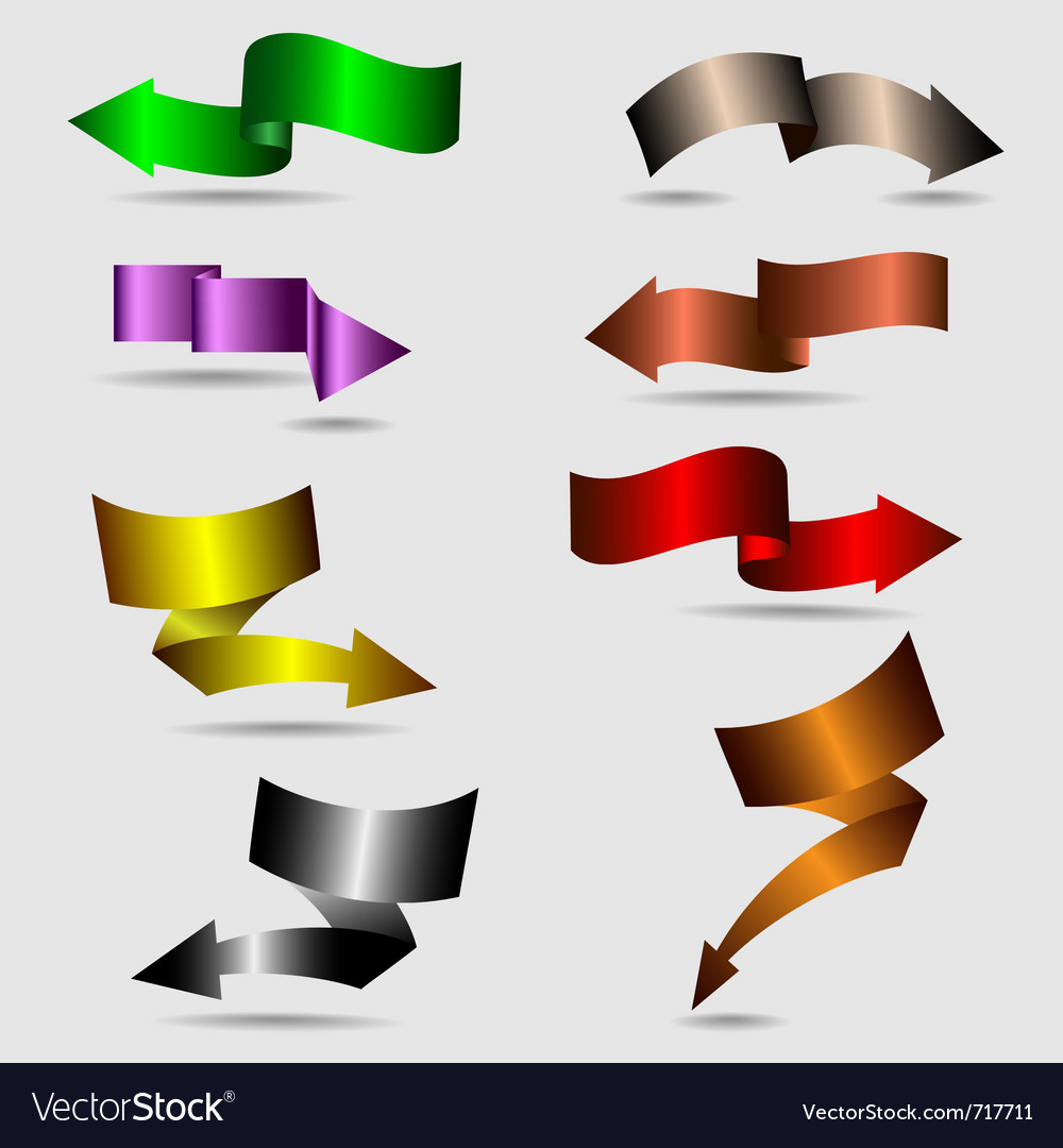 Colorful ribbon arrows collection vector | Price: 1 Credit (USD $1)