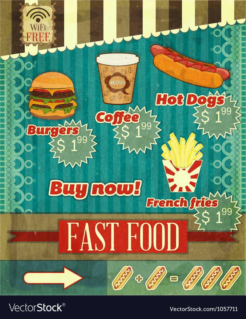 Fast food menu vector   Price: 3 Credit (USD $3)
