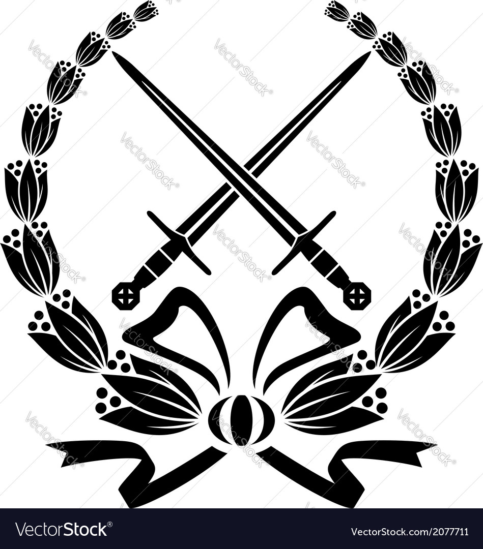 Floral wreath with crossed swords vector | Price: 1 Credit (USD $1)