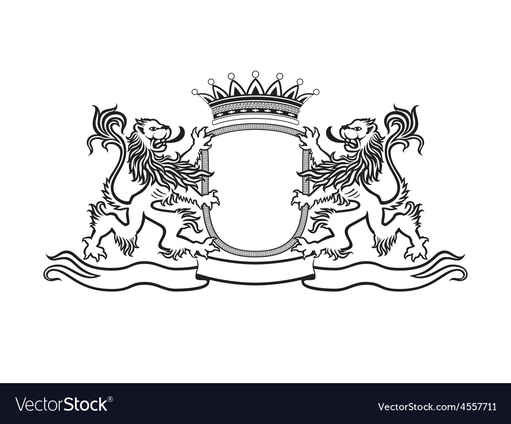Heraldry crest with lions vector | Price: 1 Credit (USD $1)