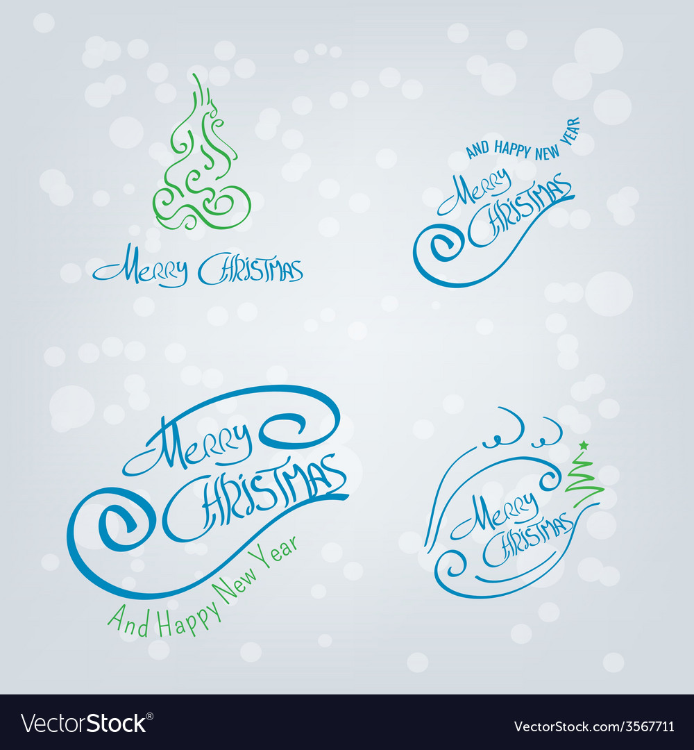 Merry christmas hand drawn elements vector | Price: 1 Credit (USD $1)