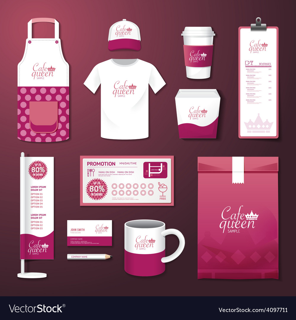 Restaurant cafe set flyer menu package t-shirt cap vector | Price: 3 Credit (USD $3)