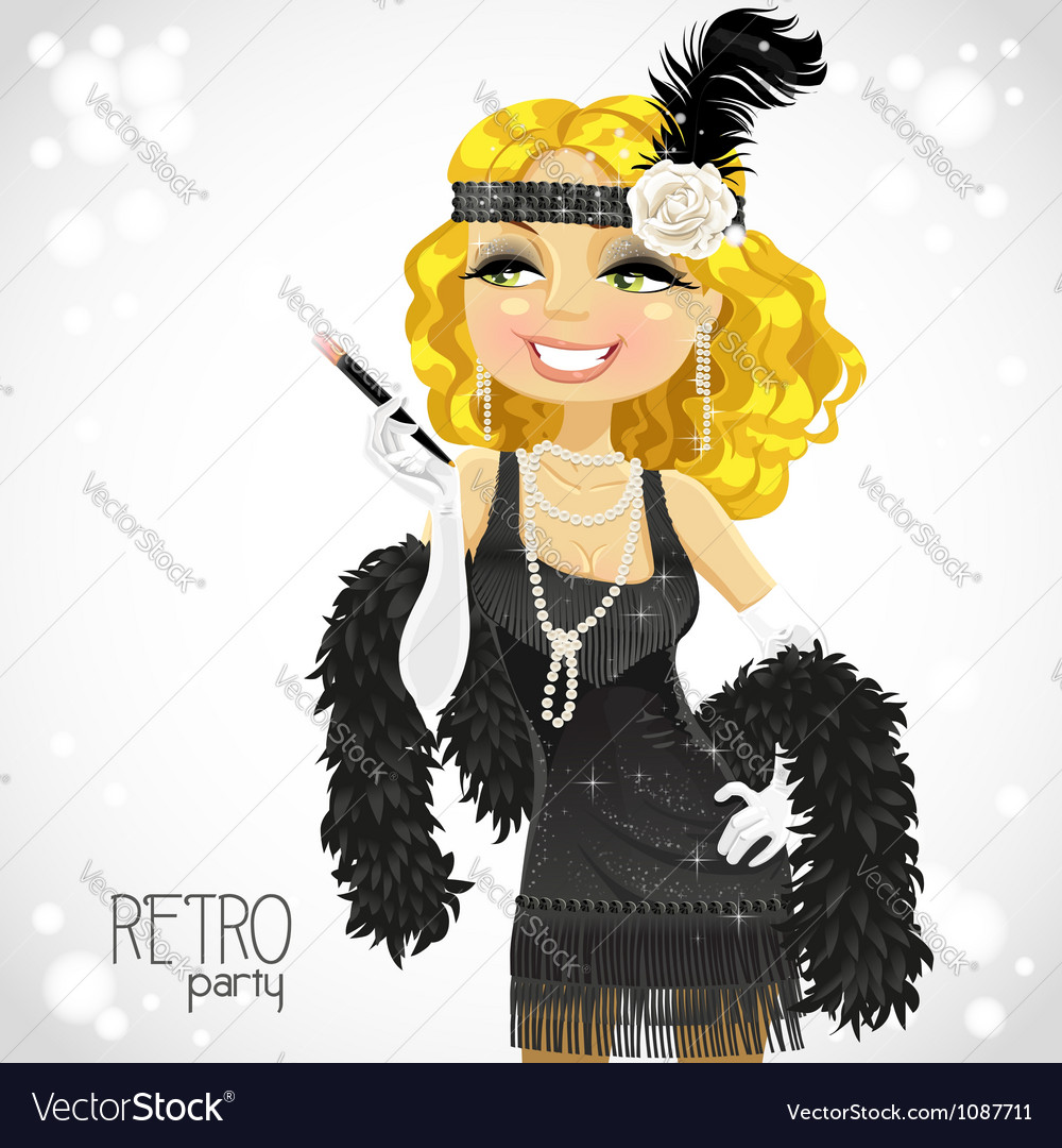 Retro glamour gangster girl vector