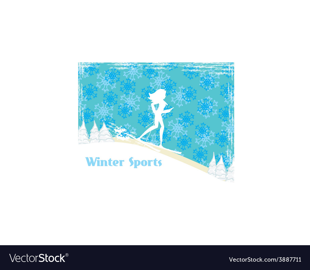 Slim girl skiing abstract card vector | Price: 1 Credit (USD $1)