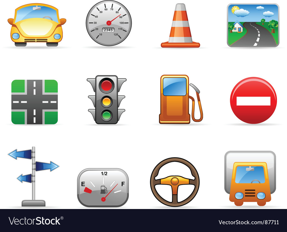 Transport and road icon set vector | Price: 1 Credit (USD $1)
