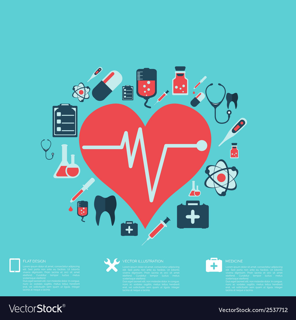 Abstract medical background with flat web icons vector | Price: 1 Credit (USD $1)