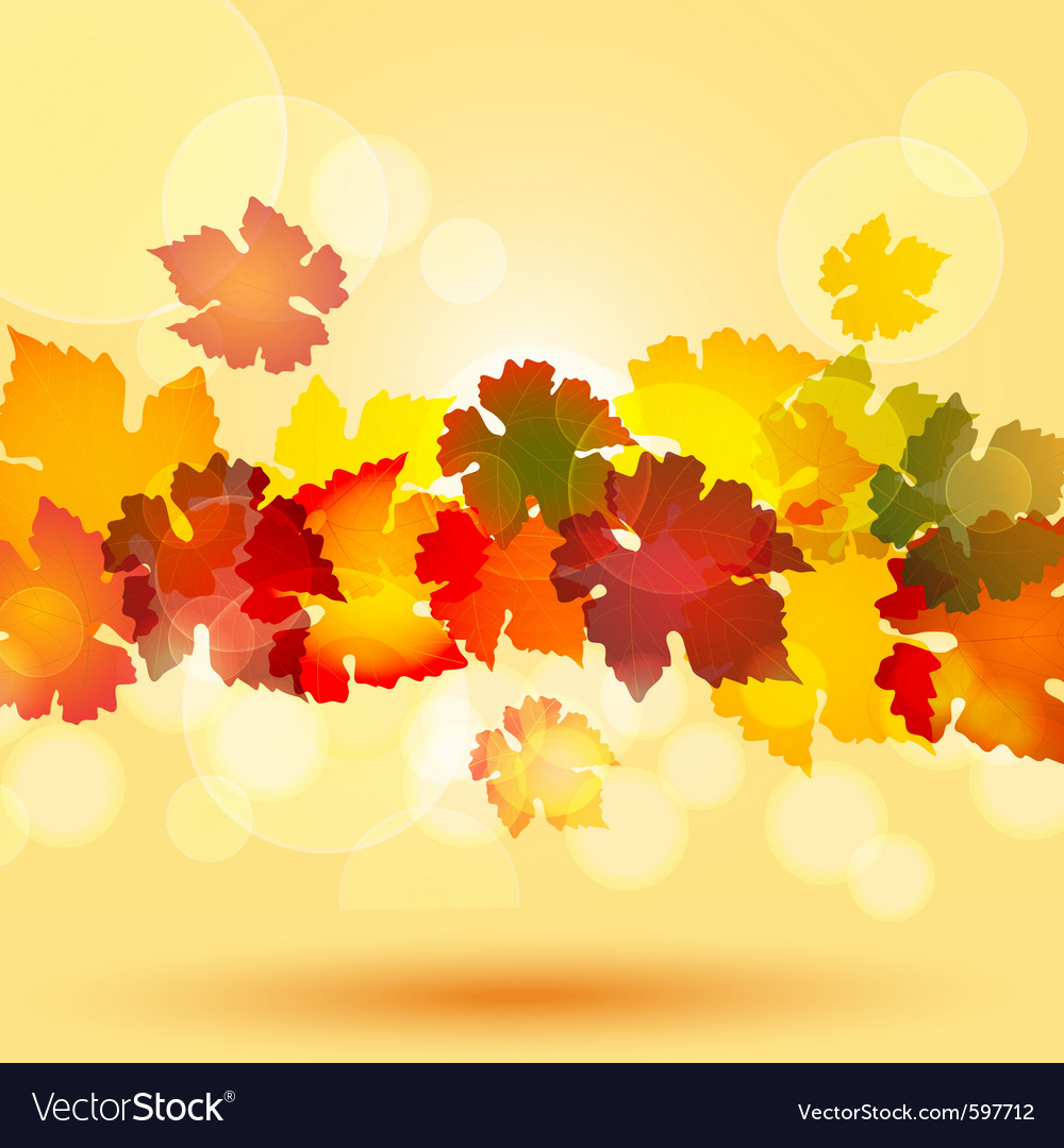 Colourful autum leaves in a horizontal border styl vector | Price: 1 Credit (USD $1)