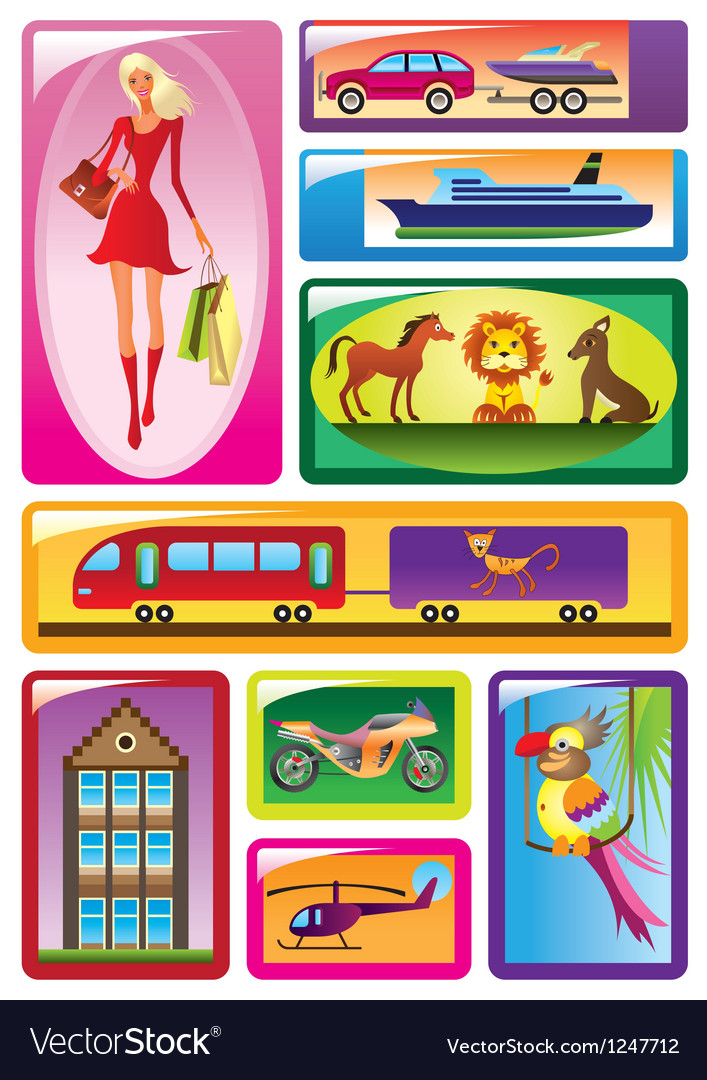 Different childrens toys in boxes vector | Price: 3 Credit (USD $3)