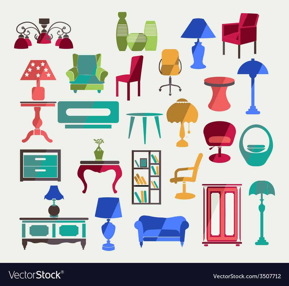 Furniture in flat style vector | Price: 1 Credit (USD $1)