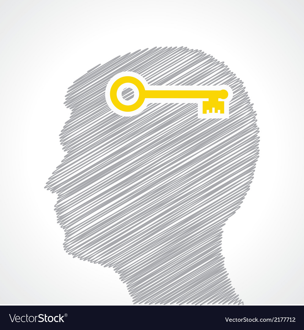 Hand drawn man s face with key in his head vector | Price: 1 Credit (USD $1)