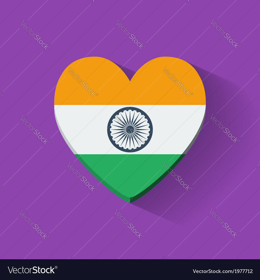 Heart-shaped icon with flag of india vector | Price: 1 Credit (USD $1)