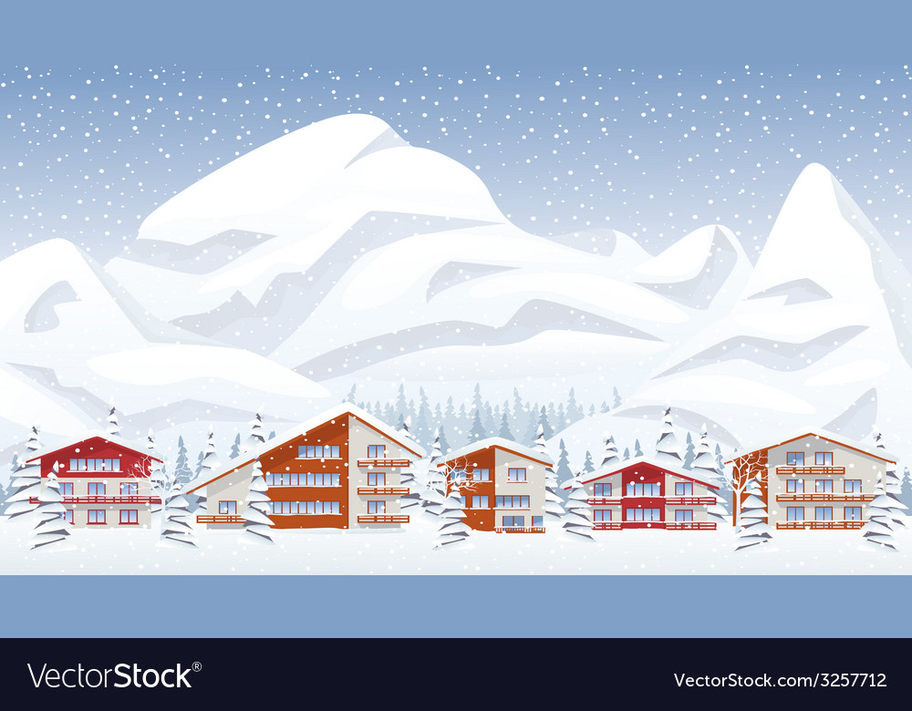 Mountain ski resort in winter vector | Price: 3 Credit (USD $3)