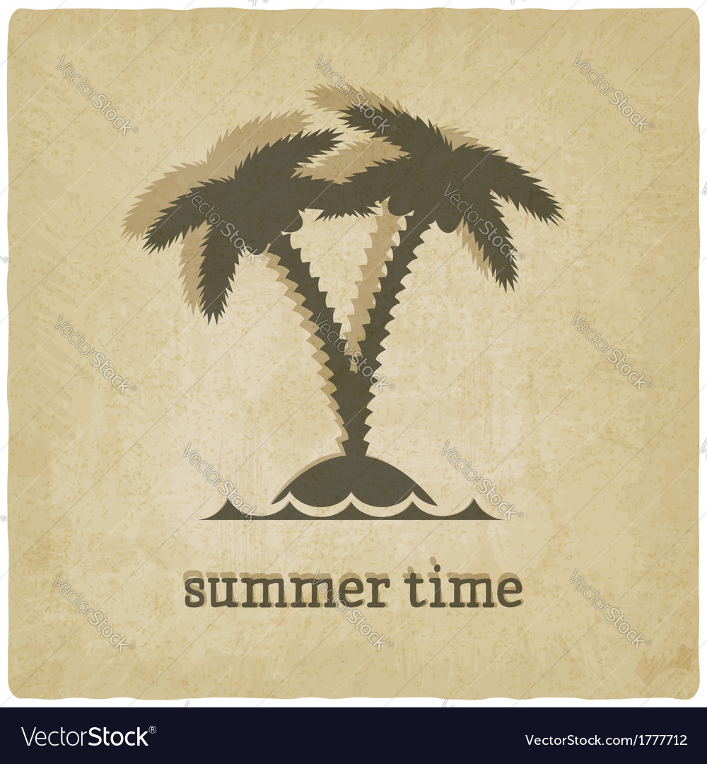 Old background with palm tree vector | Price: 1 Credit (USD $1)