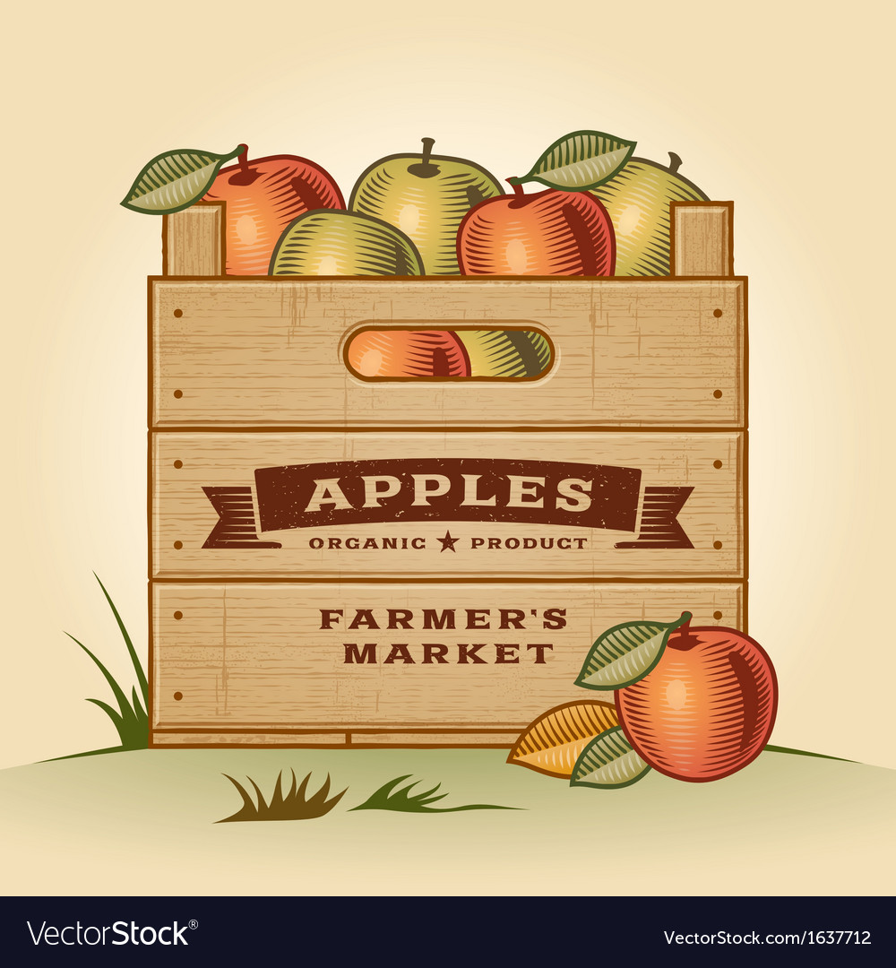 Retro crate of apples vector | Price: 1 Credit (USD $1)