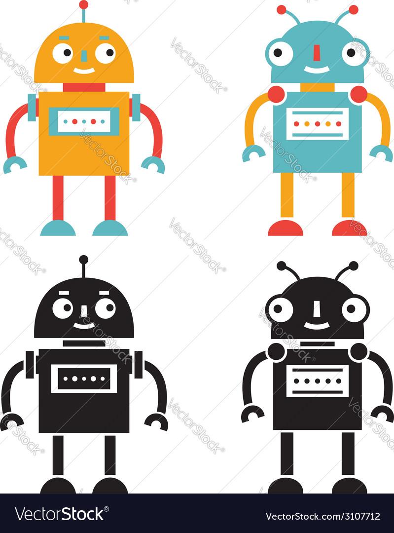 Robots set color and black versions vector   Price: 1 Credit (USD $1)