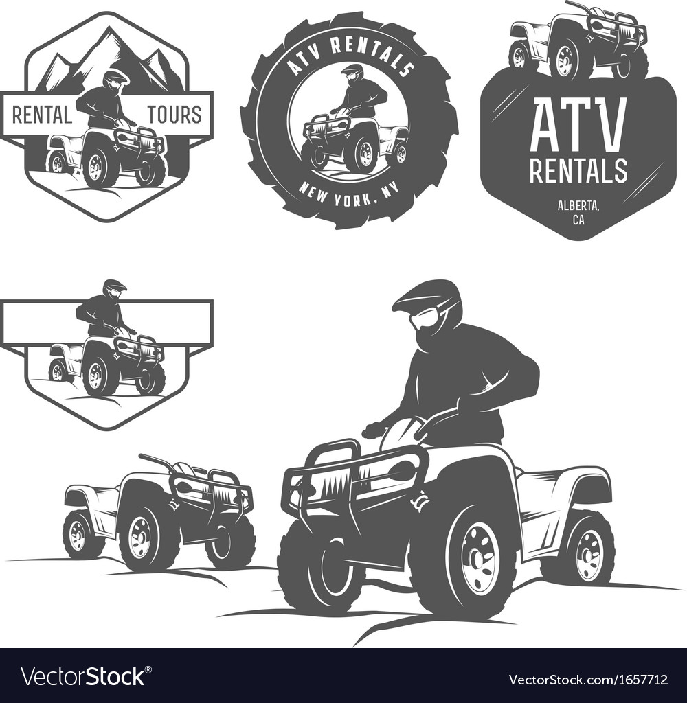 Set of atv labels badges and design elements vector | Price: 1 Credit (USD $1)