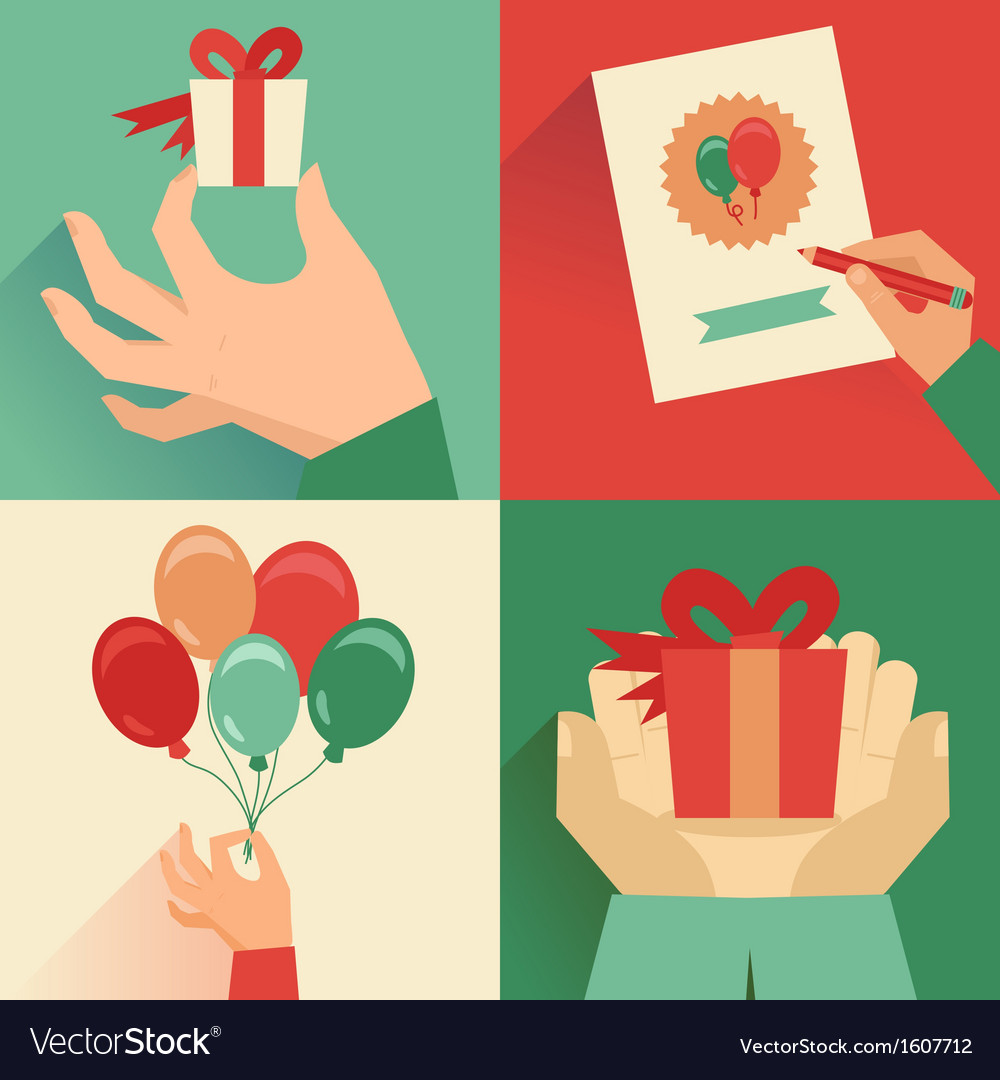 Set of greeting card in flat style vector | Price: 1 Credit (USD $1)