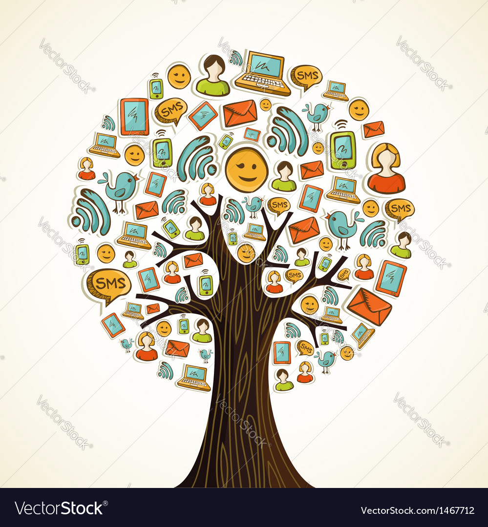 Social media icons tree vector | Price: 1 Credit (USD $1)