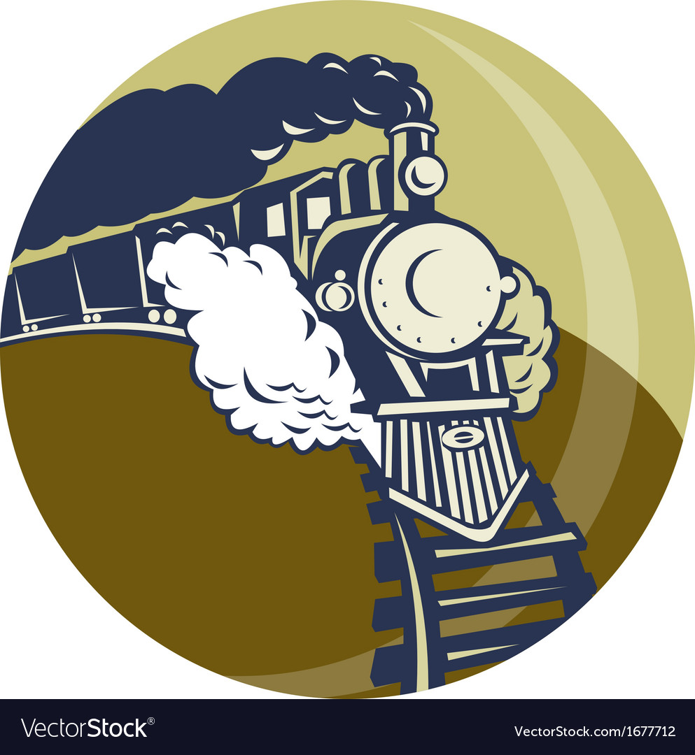 Steam train or locomotive coming up vector | Price: 1 Credit (USD $1)