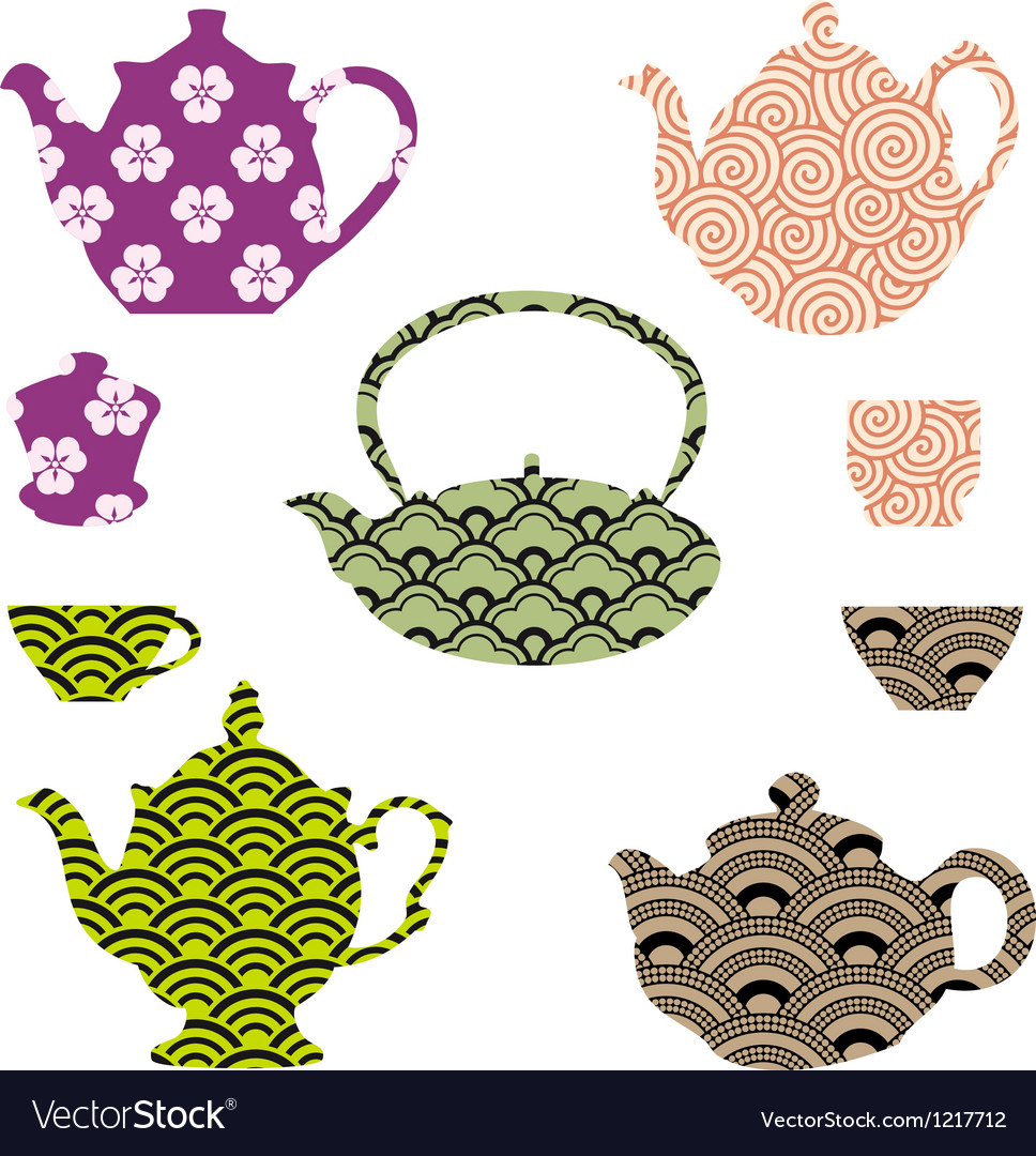 Tea pots and cups with asian pattern vector | Price: 1 Credit (USD $1)