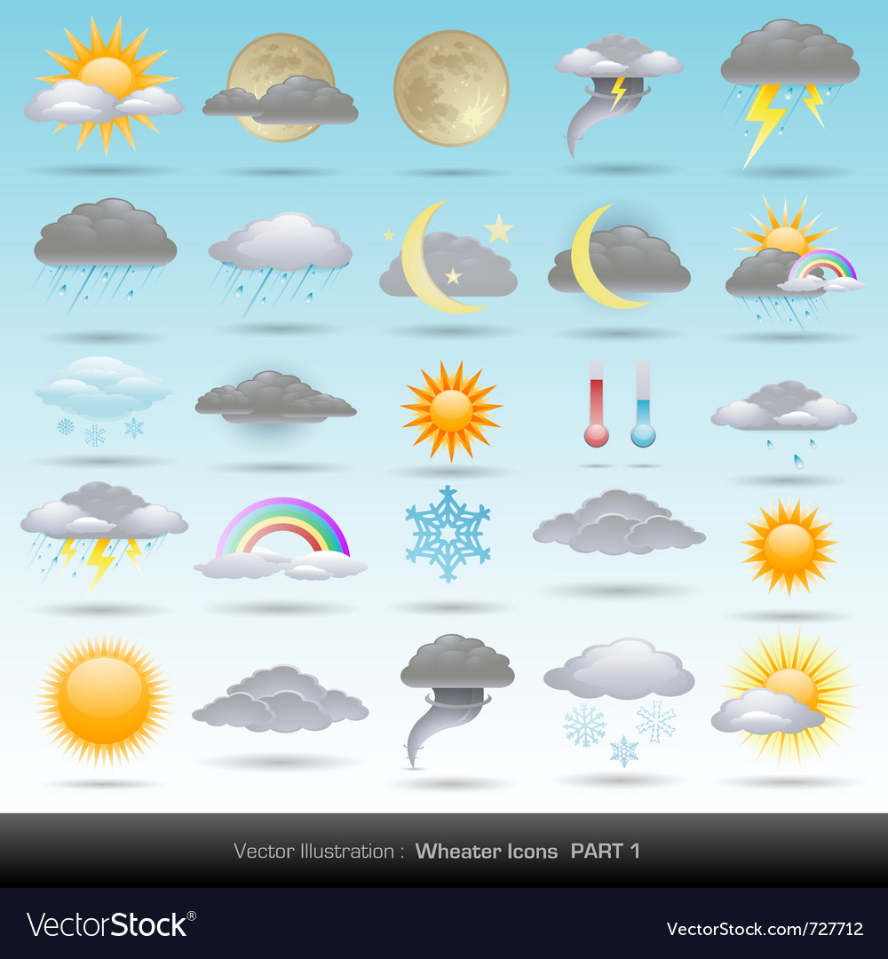 Weather icons collection vector | Price: 3 Credit (USD $3)