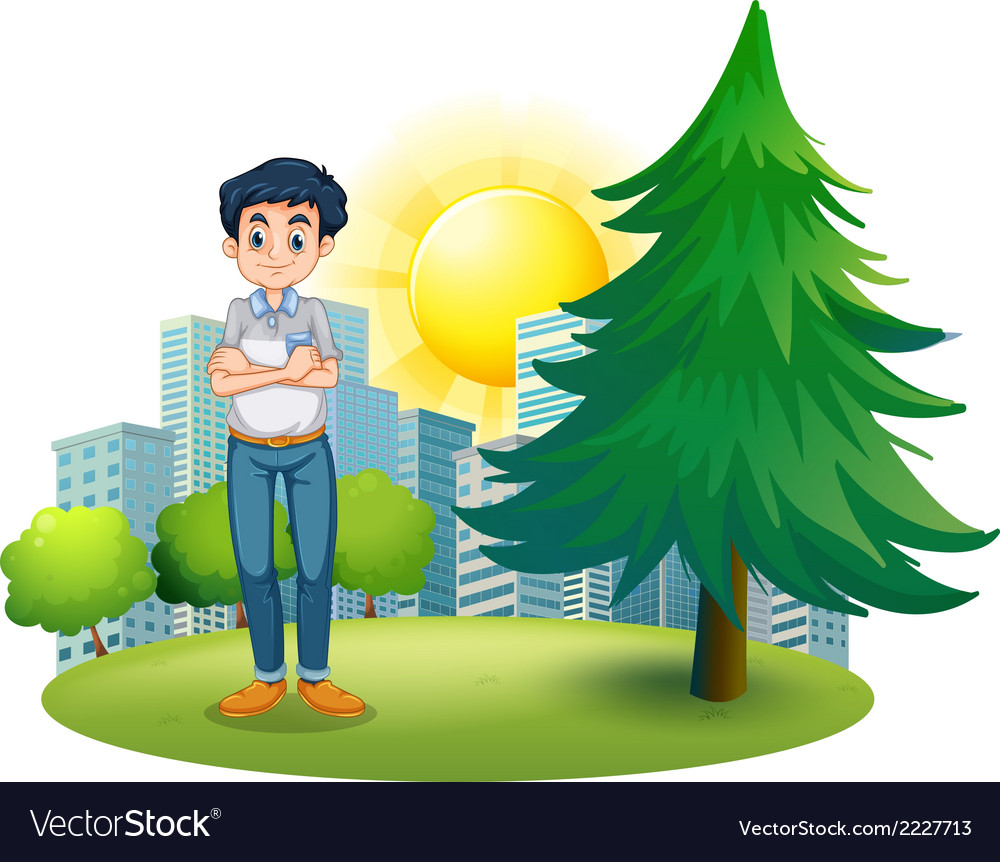 A man standing near the pine tree vector | Price: 1 Credit (USD $1)