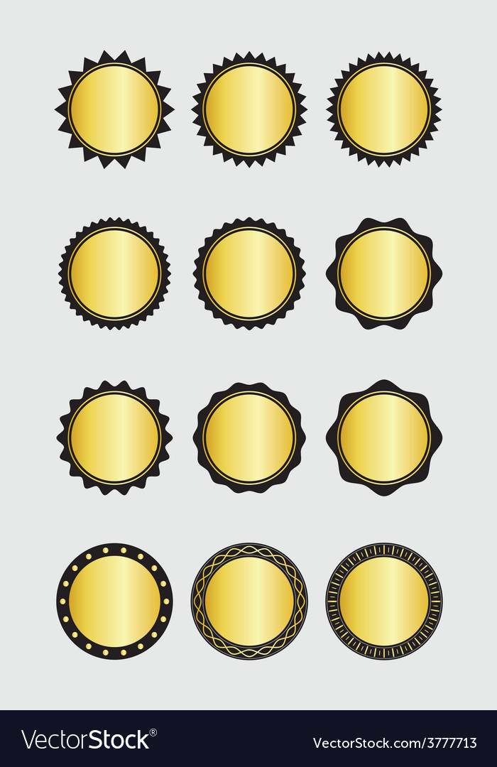 A set of gold badges vector | Price: 1 Credit (USD $1)