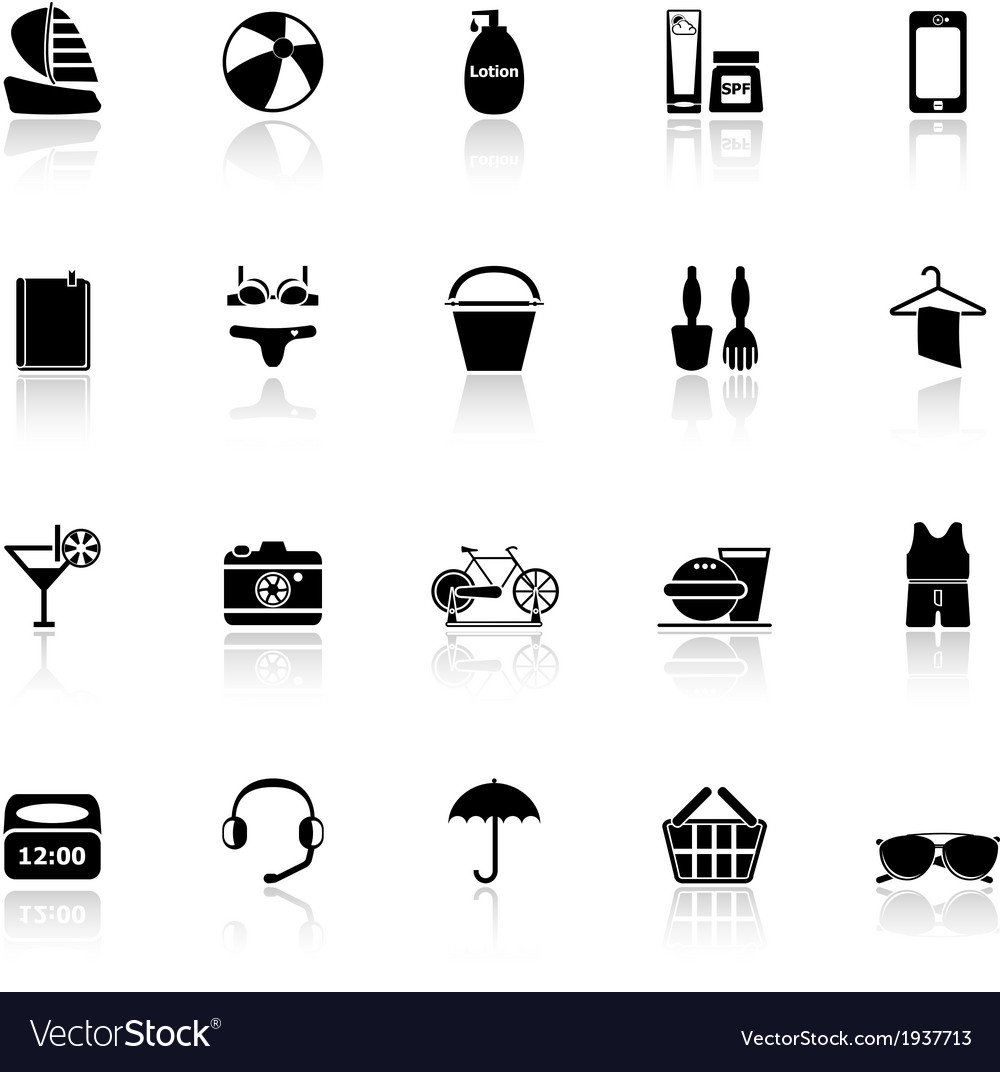 Beach icons with reflect on white background vector | Price: 1 Credit (USD $1)