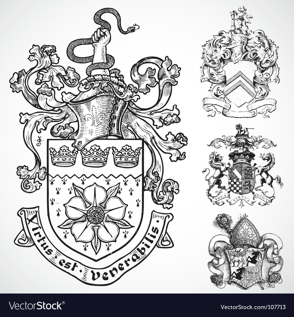 Coat of arms shield ornaments vector | Price: 1 Credit (USD $1)