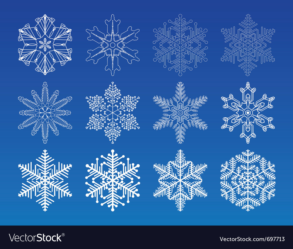 Decorative snowflakes set - winter series clip-art vector | Price: 1 Credit (USD $1)