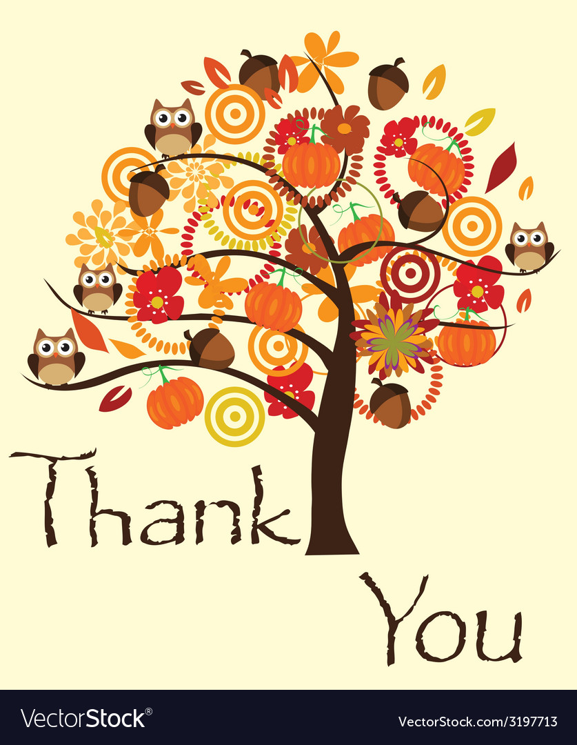 Fall tree thank you card vector | Price: 1 Credit (USD $1)
