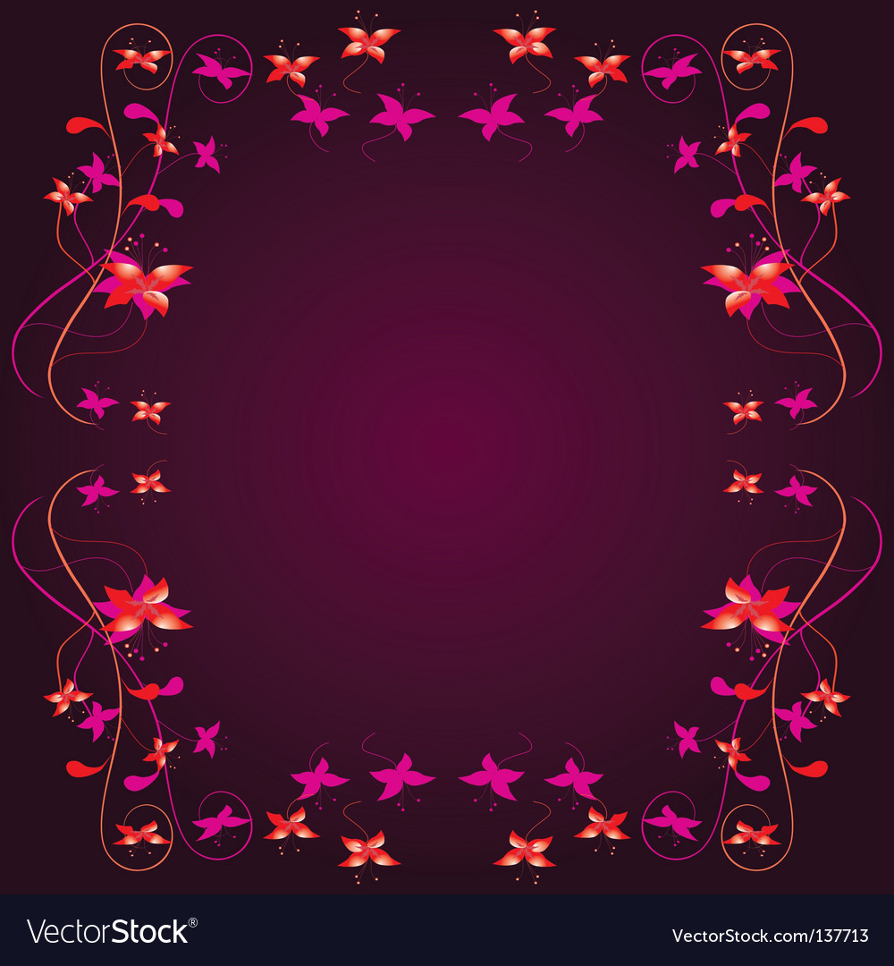 Frame with a floral border vector | Price: 1 Credit (USD $1)