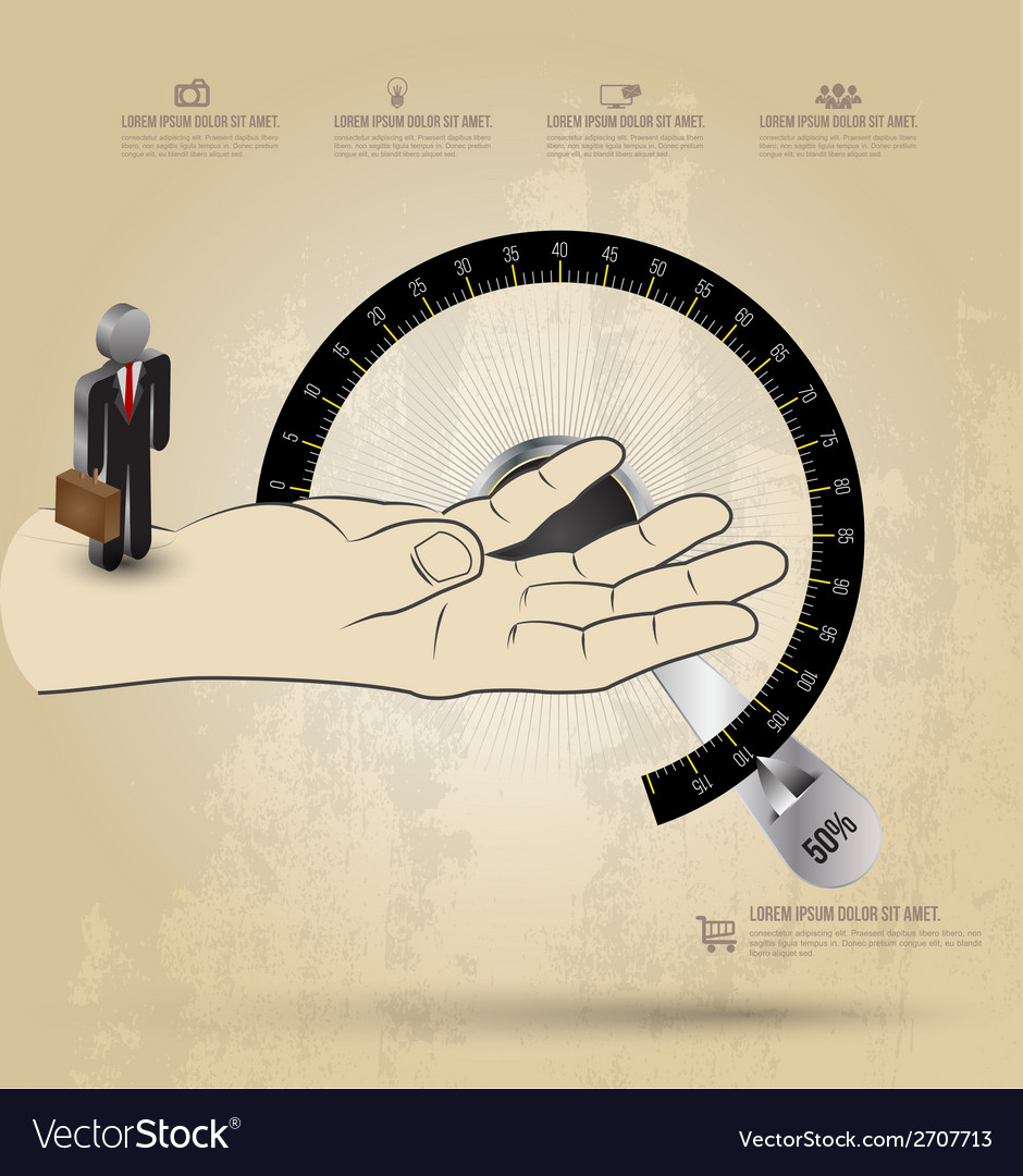 Infographic diagram hand with circle scale vector | Price: 1 Credit (USD $1)