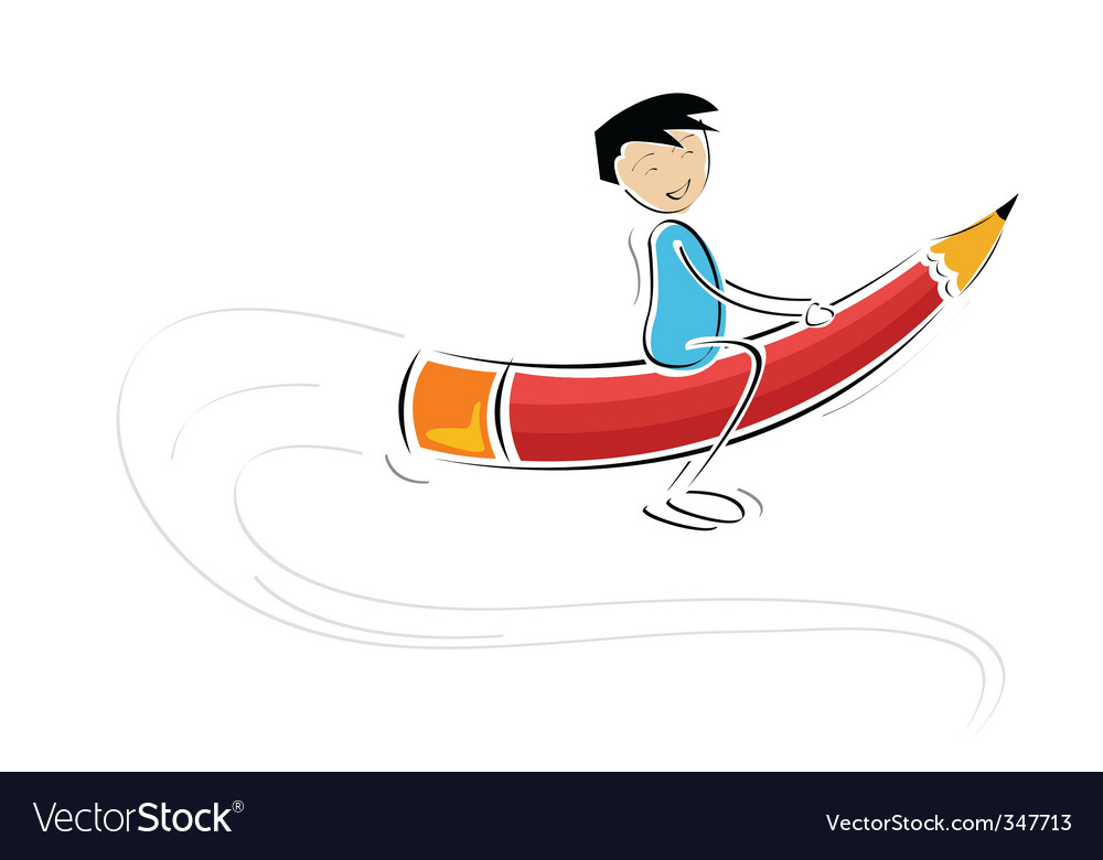 Kid flying on pencil vector | Price: 1 Credit (USD $1)