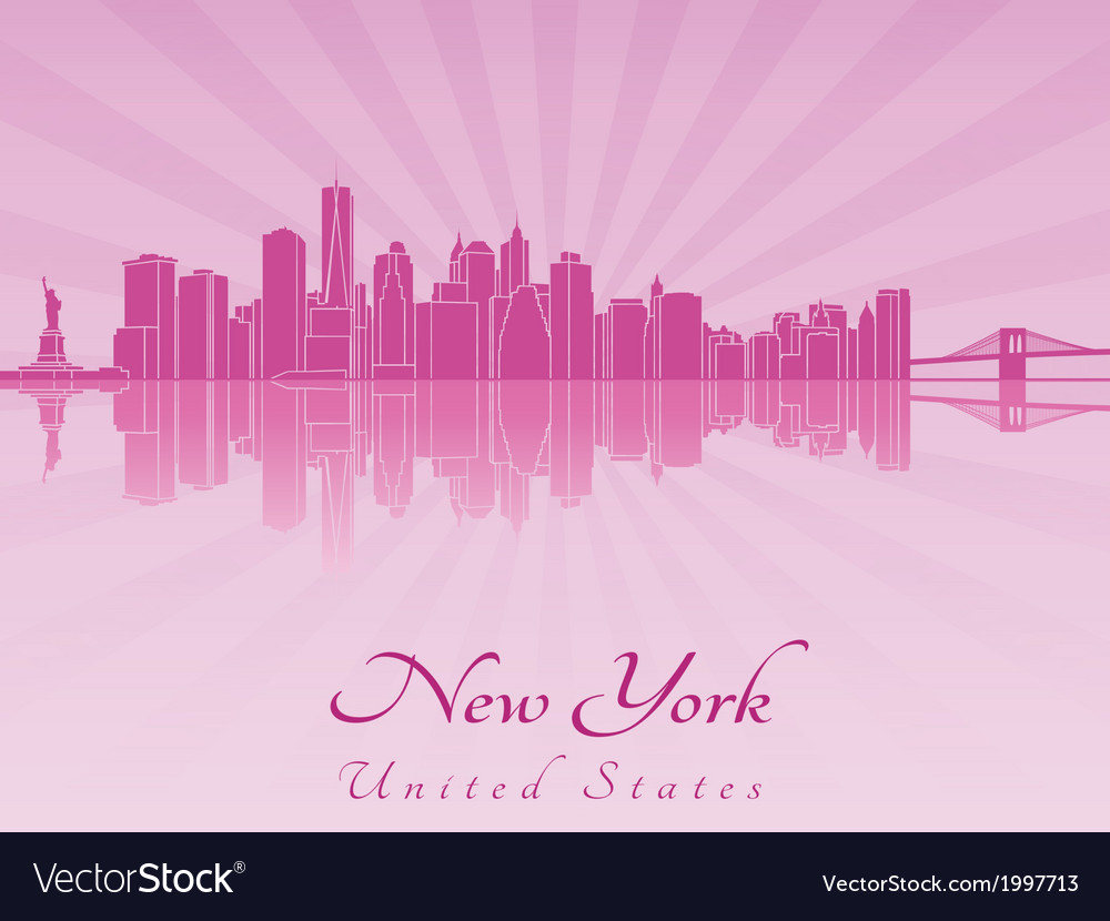 New york skyline in purple radiant orchid vector