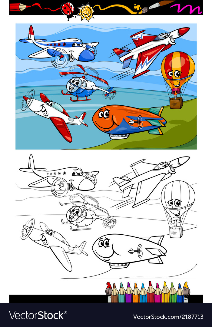 Planes and aircraft cartoon coloring book vector | Price: 1 Credit (USD $1)