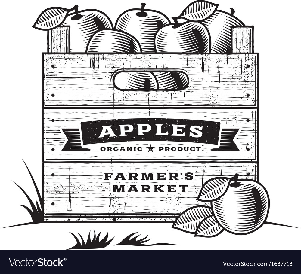 Retro crate of apples black and white vector | Price: 1 Credit (USD $1)