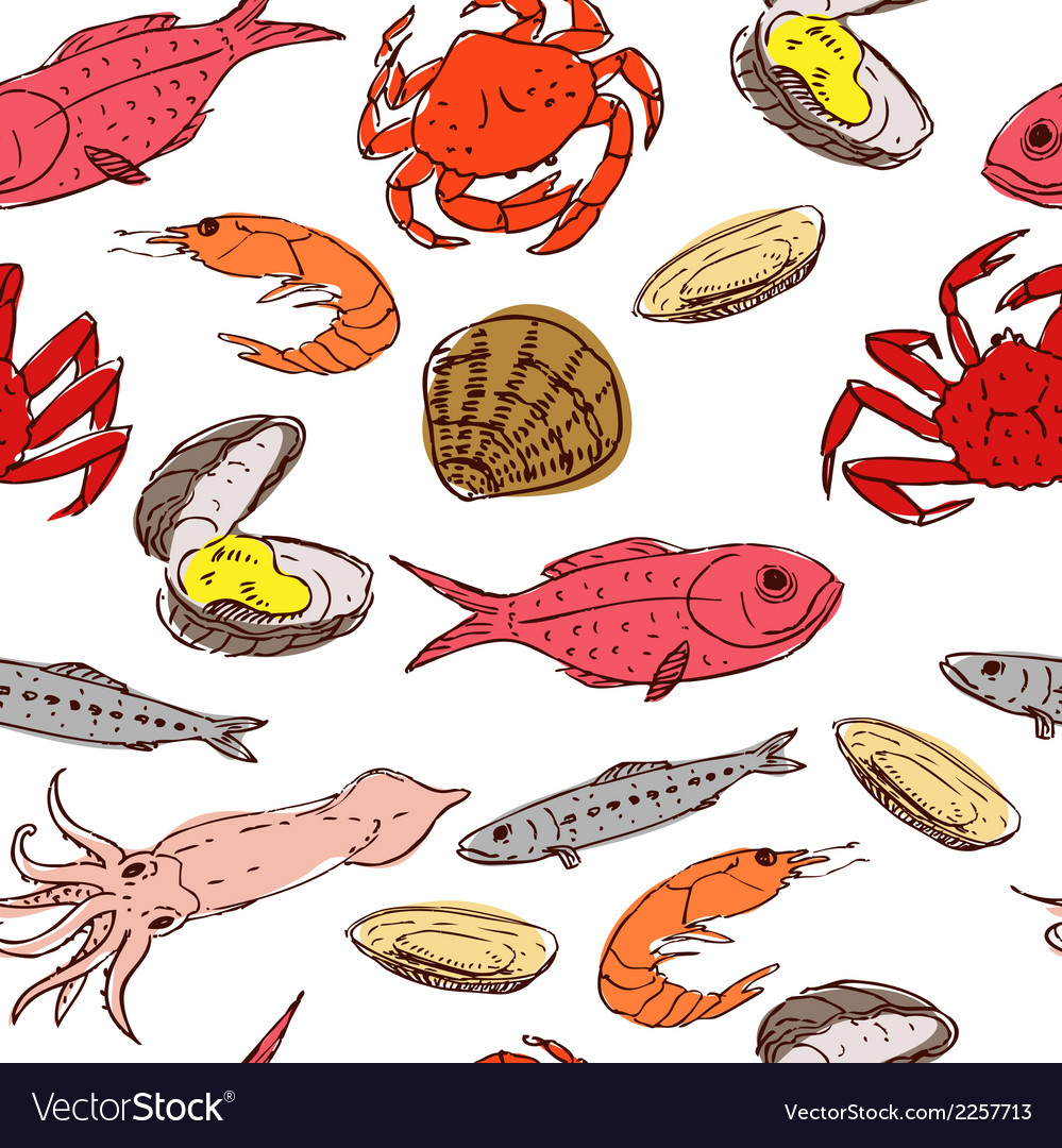 Seafood seamless vector | Price: 1 Credit (USD $1)