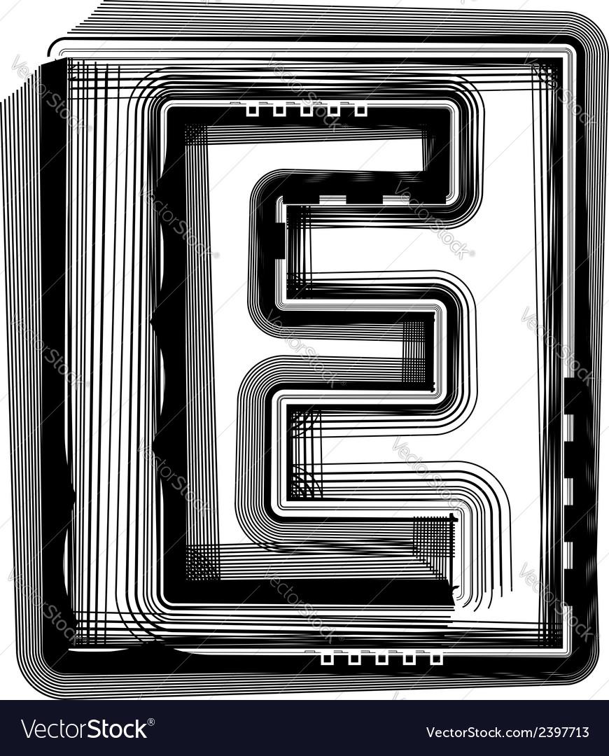 Striped font letter e vector | Price: 1 Credit (USD $1)