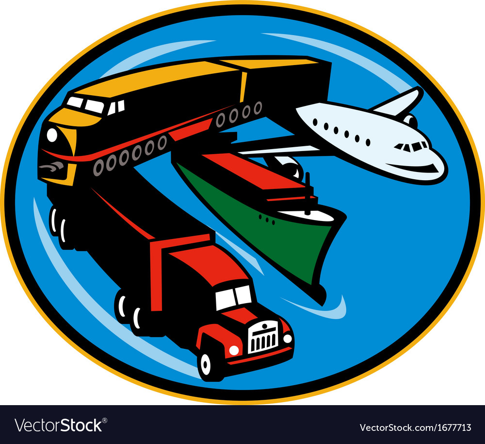 Train truck container ship and airplane travel vector | Price: 1 Credit (USD $1)