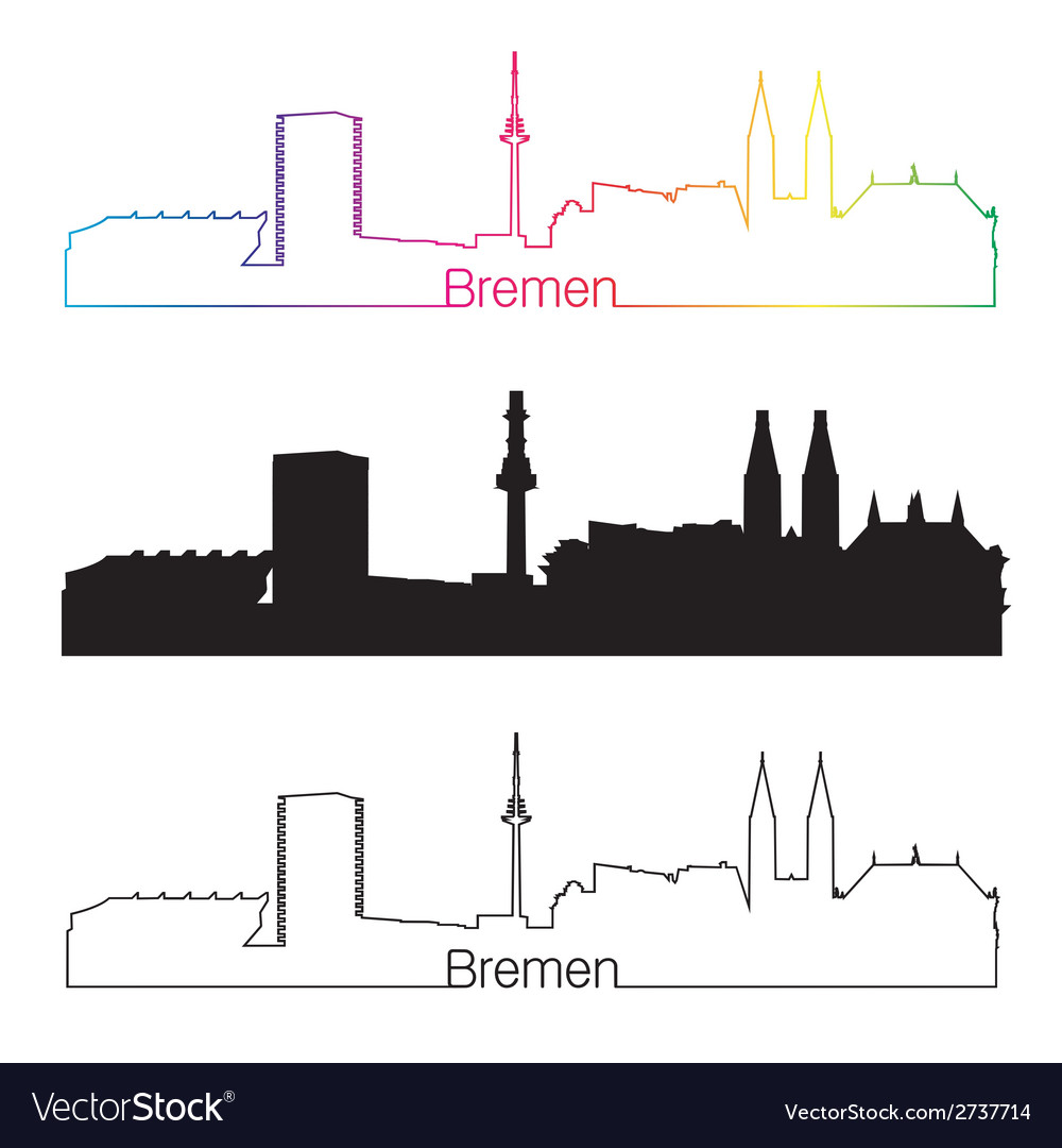 Bremen skyline linear style with rainbow vector | Price: 1 Credit (USD $1)