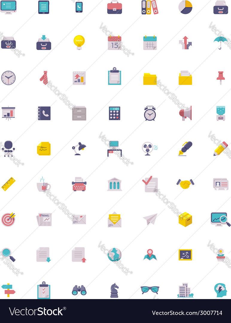 Flat business and office icon set vector | Price: 1 Credit (USD $1)