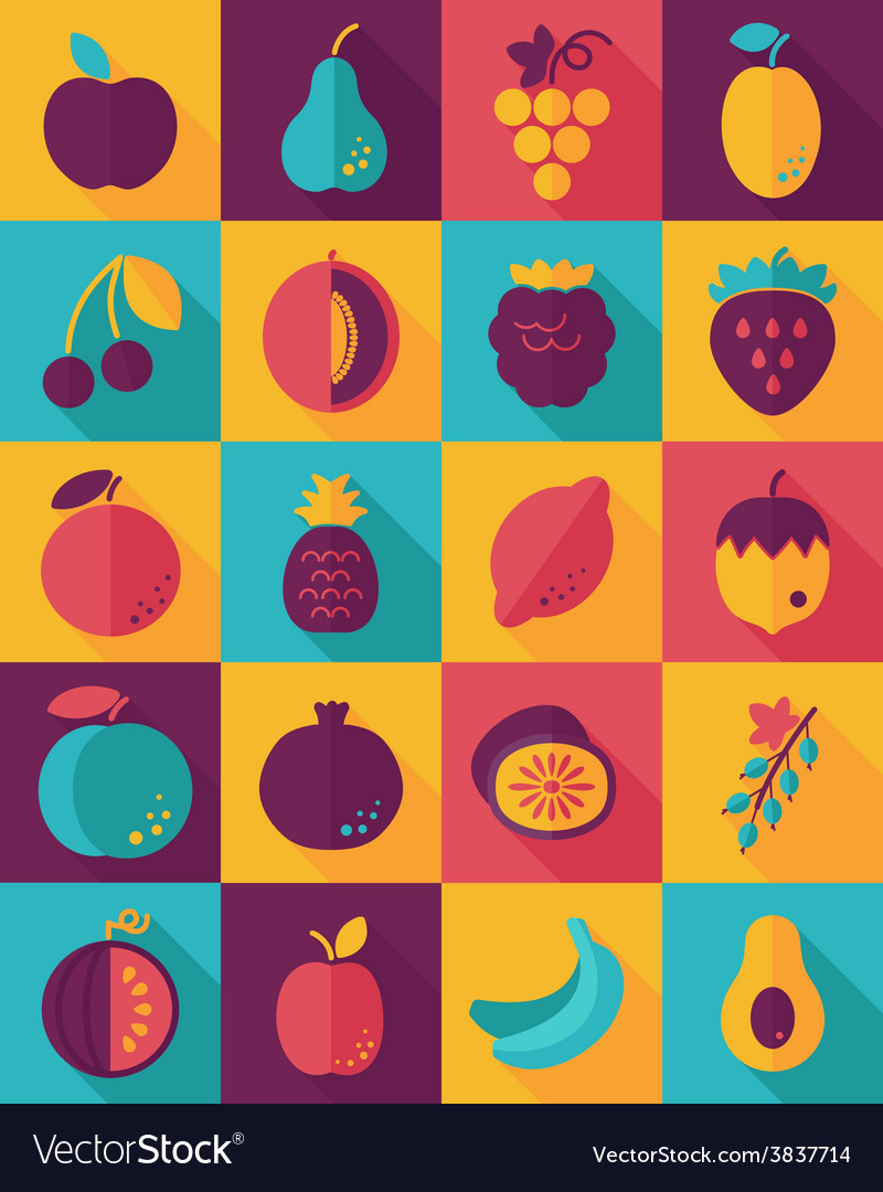 Fruits flat icon with long shadow vector | Price: 1 Credit (USD $1)