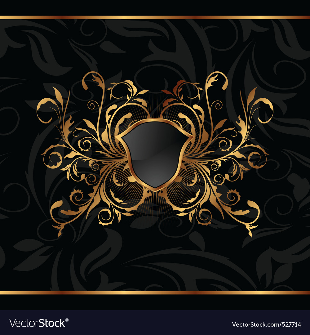Golden ornate frame with shield vector | Price: 1 Credit (USD $1)